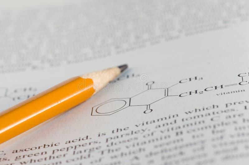 化学家庭作业 免版税库存图片
