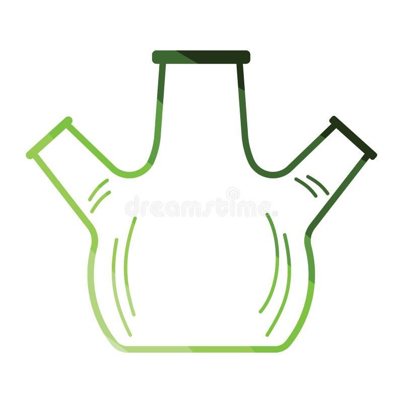 化学有三倍喉头的圆的底部烧瓶象  向量例证