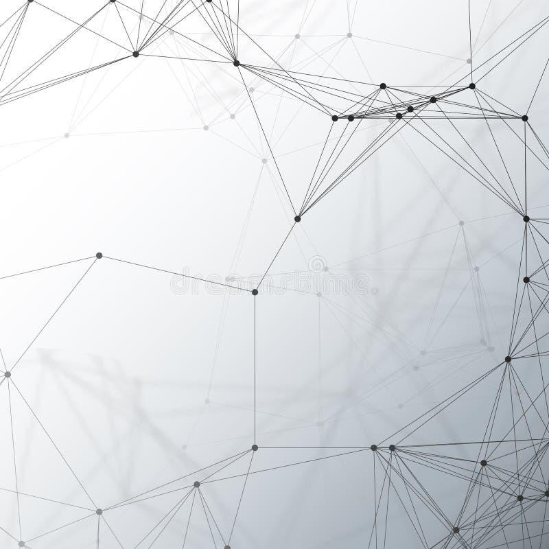 化学样式、连接线和小点,在灰色,科学医疗脱氧核糖核酸研究的分子结构,几何 皇族释放例证