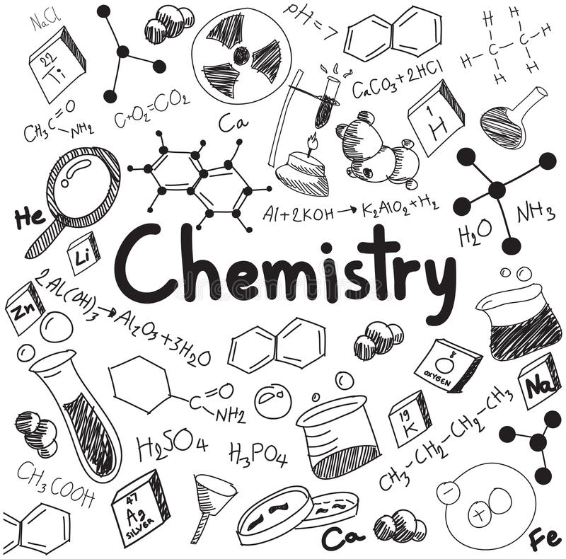 化学科学理论和接合惯例等式,乱画ha 库存例证
