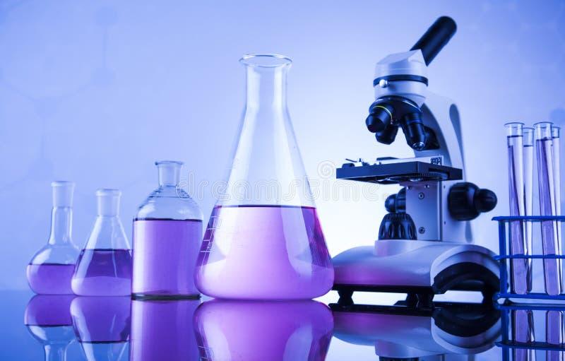 化学科学,实验室玻璃器皿背景 图库摄影