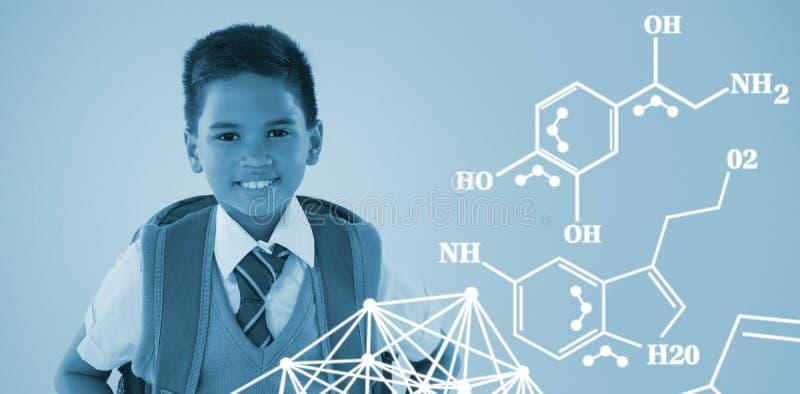 化学结构的综合图象反对白色背景的 库存图片