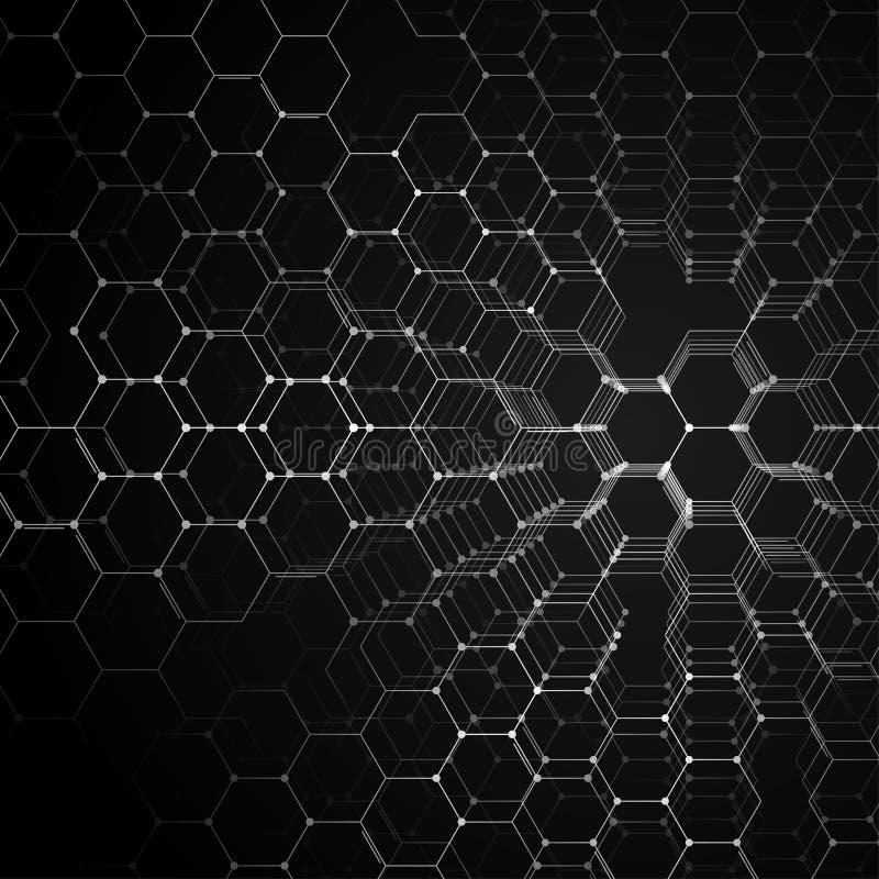 化学3D样式,在黑色,科学医学研究的六角分子结构 医学,科学和 向量例证
