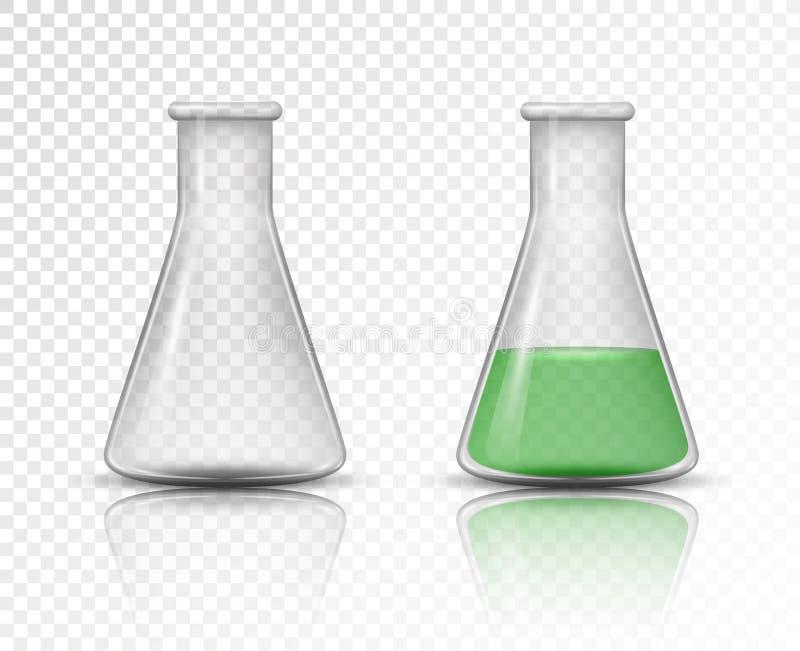 化工实验室的空和被填装的烧瓶 向量例证