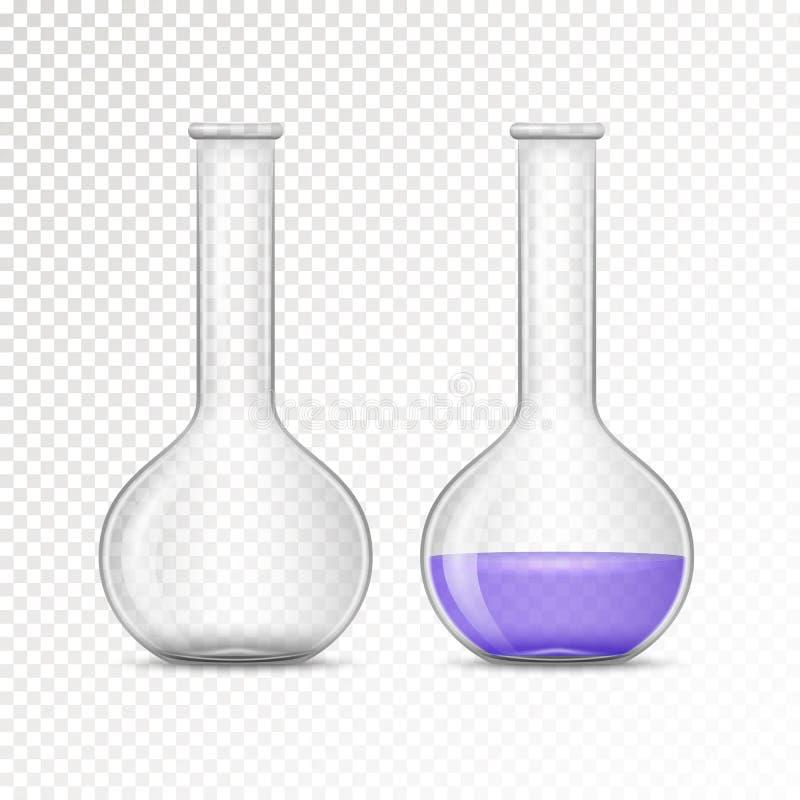 化工实验室的空和被填装的烧瓶 库存例证
