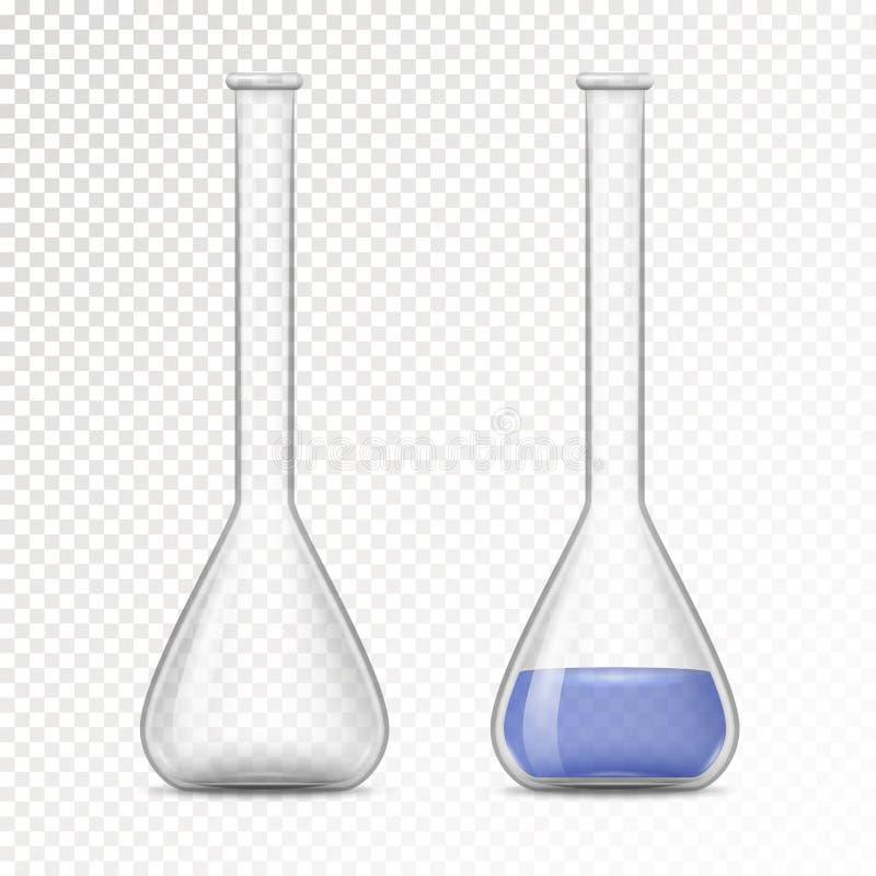 化工实验室的空和被填装的烧瓶 皇族释放例证