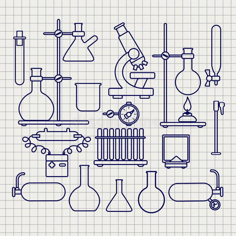 化工实验室稀薄的线被设置的象 库存例证