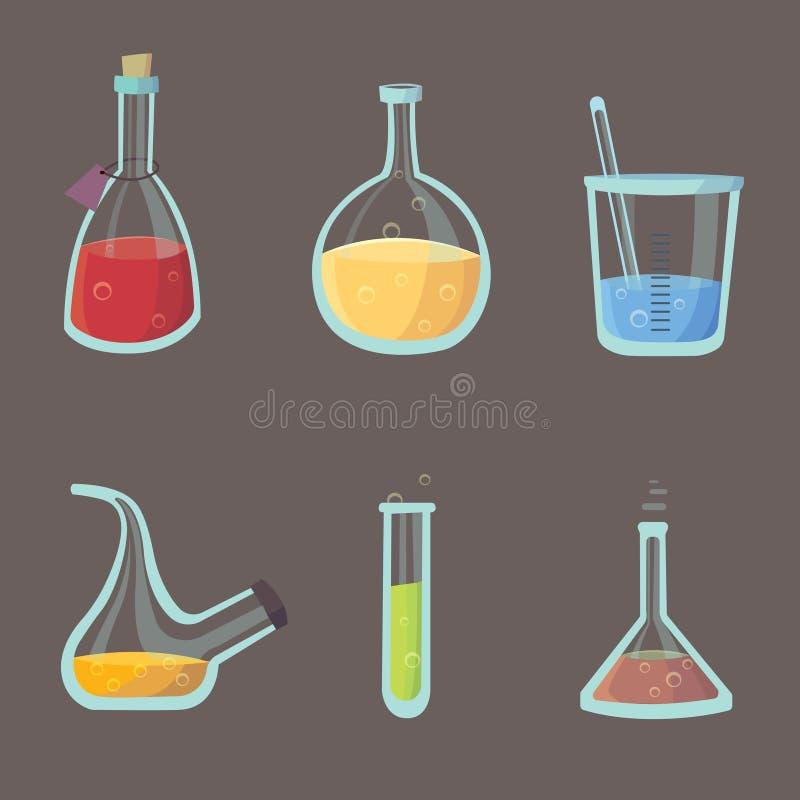 化工实验室设备对象 向量例证
