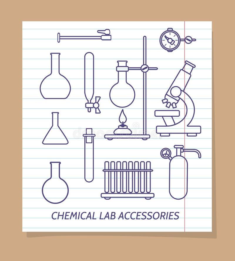 化工实验室辅助部件线象 库存例证
