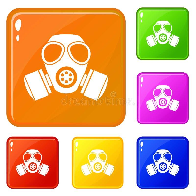 化工防毒面具象集合传染媒介颜色 库存例证