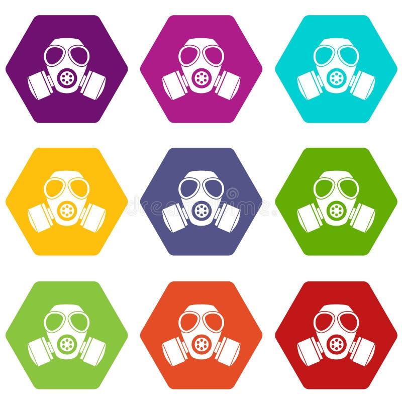 化工防毒面具象集合颜色hexahedron 向量例证