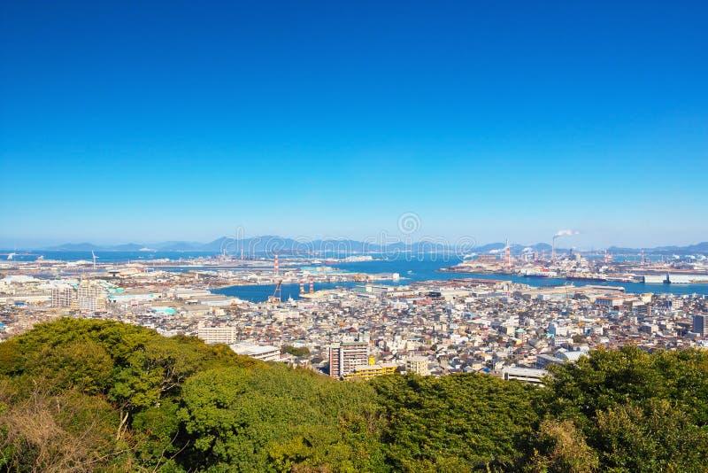 北九州市看法在若松ku附近的在北九州,日本 免版税图库摄影