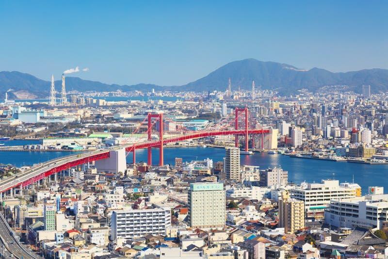 北九州市看法有Wakato桥梁的在北九州,日本 图库摄影
