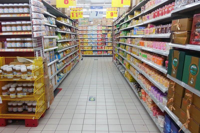 超级市场架子 库存照片
