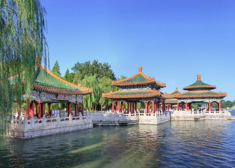 北京公园亭子,前皇家庭院,北京,中国 免版税库存图片