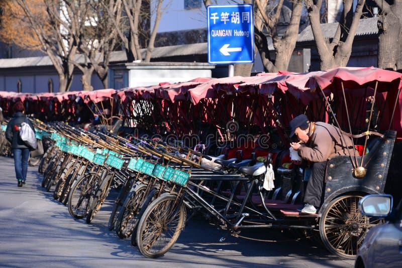 北京后海人力车三轮车 库存照片