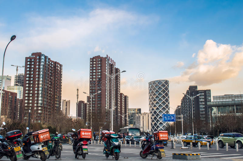 北京市在wangjing的街道都市风景 免版税图库摄影