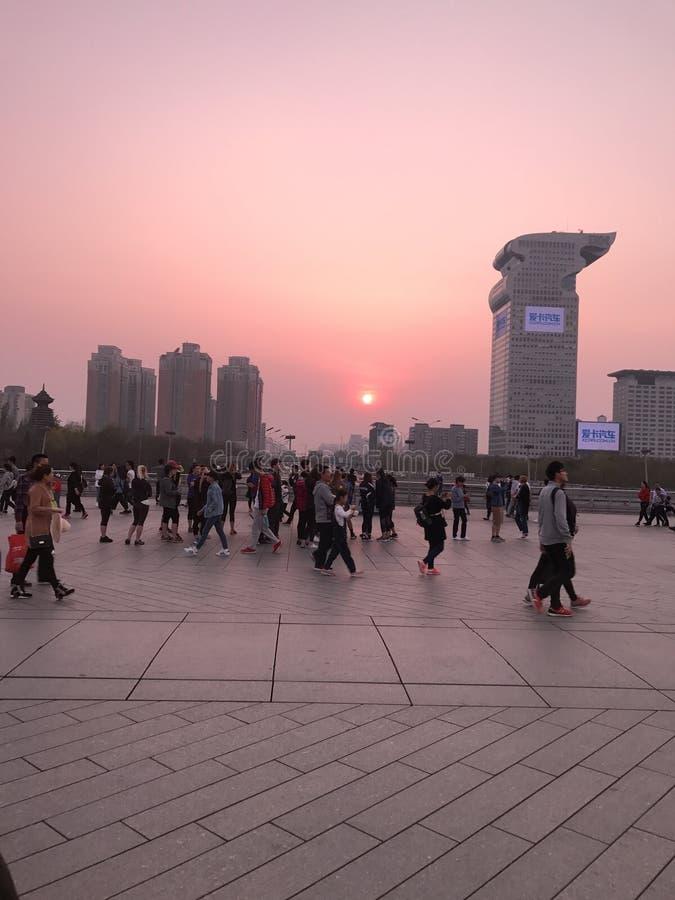 北京日落 库存照片
