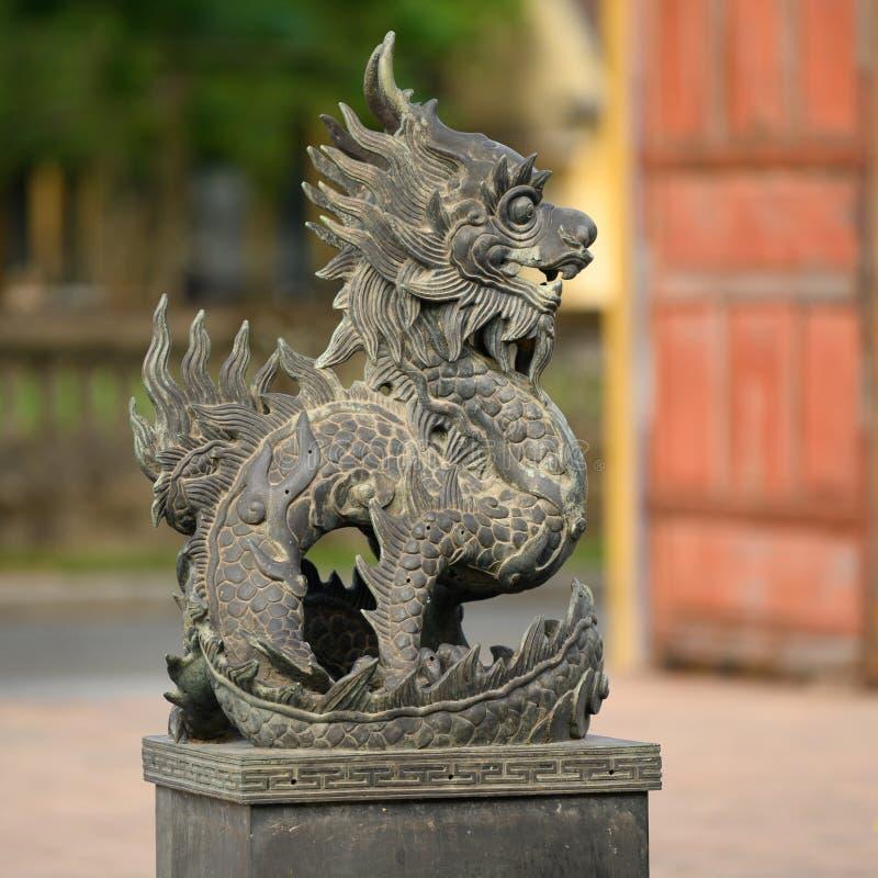 北京皇城颜色,越南,龙在颜色紫禁城  图库摄影
