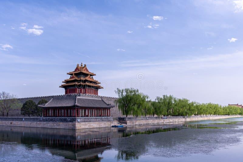 北京紫禁城壁角大厦 免版税图库摄影