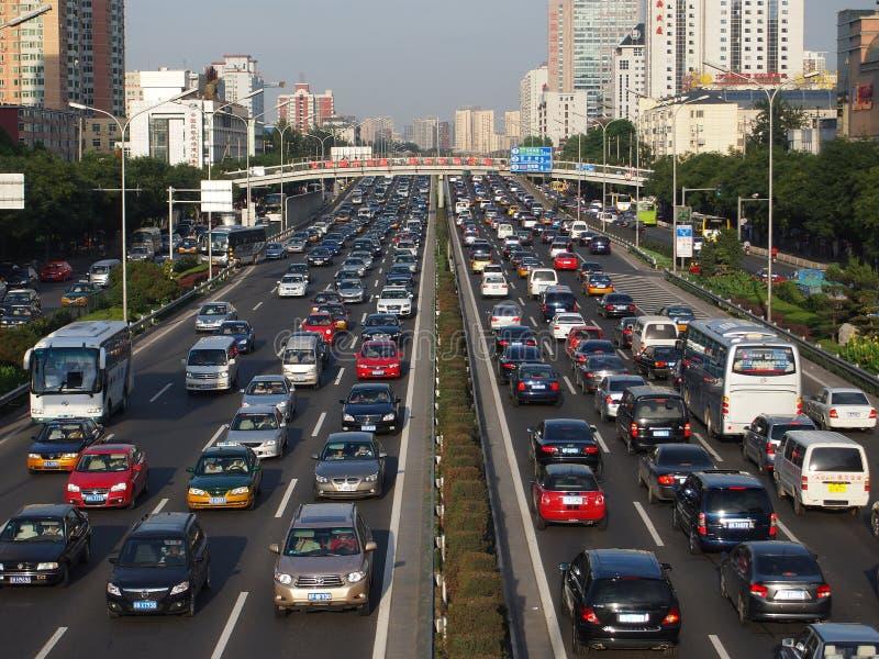 北京繁忙运输堵塞和汽车 免版税库存照片