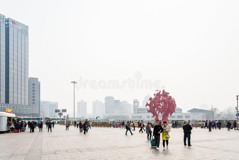 北京西站正方形看法  免版税库存图片