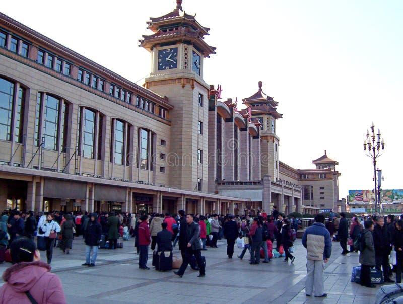 北京车站的人们在北京,中国 库存照片
