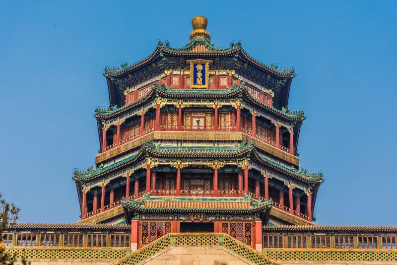 北京颐和园的中国塔  库存照片