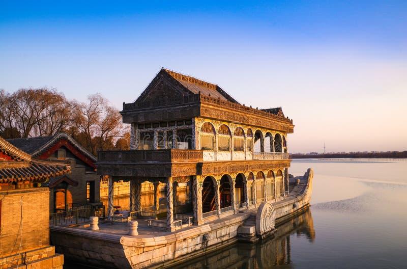 北京颐和园石头小船 免版税库存图片