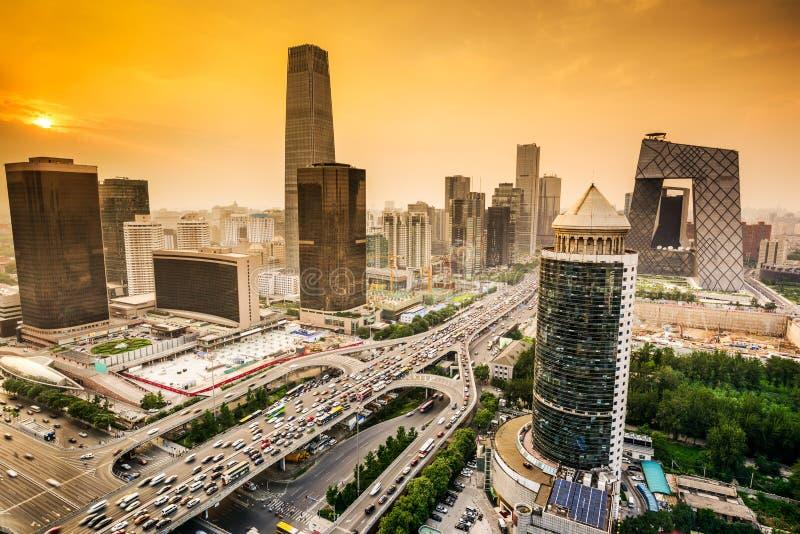 北京,中国财政区地平线 免版税库存图片