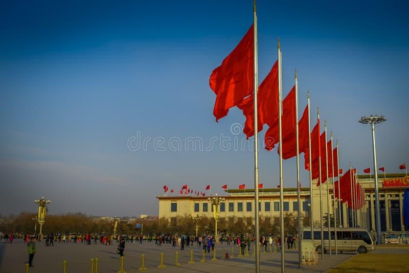 北京,中国- 2017年1月29日, :人民大会堂,位于天门广场的壮观的大厦,许多红色 免版税库存图片