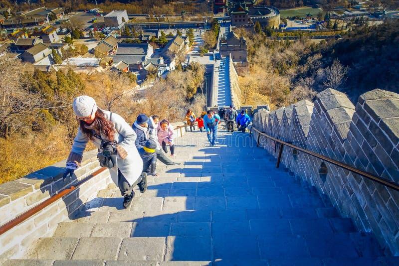 北京,中国- 2017年1月29日, :印象深刻的长城意想不到的看法在一个美好的晴天,位于Juyong 图库摄影