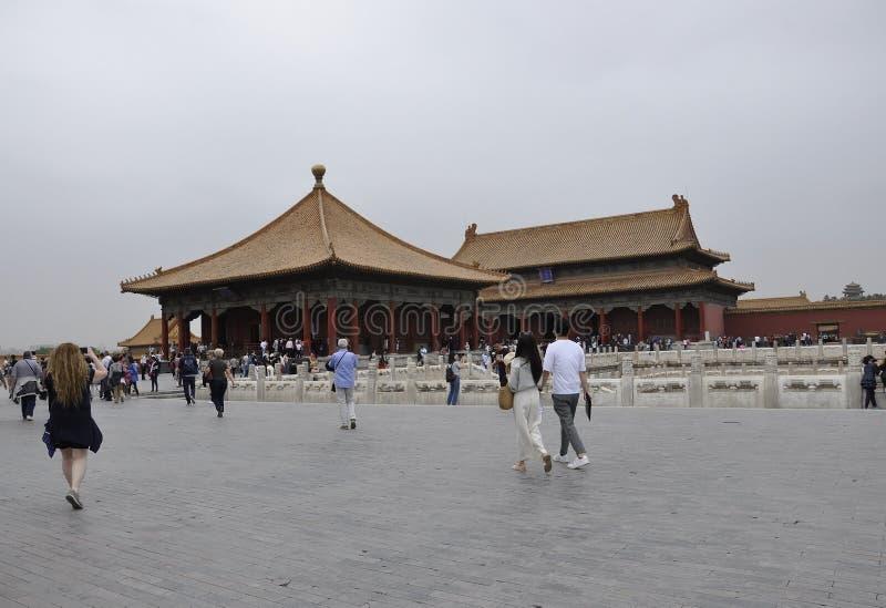 北京,第5可以:参观故宫的游人在从北京的紫禁城 免版税库存图片