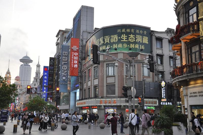 北京,2th可以:在步行者南京路的夜景从北京在中国 免版税库存图片