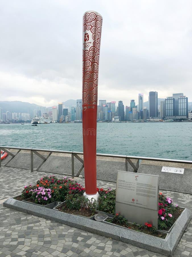 北京2008奥林匹克火炬的雕塑,香港 库存照片