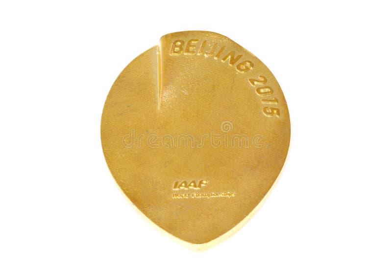 北京2015年竞技世界冠军参与奖牌,反向 科沃拉,芬兰06 09 2016年 免版税库存照片