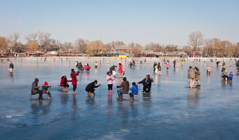 北京shichahai滑冰 库存照片