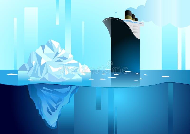 北和南极生活风景  冰山在海洋 库存例证