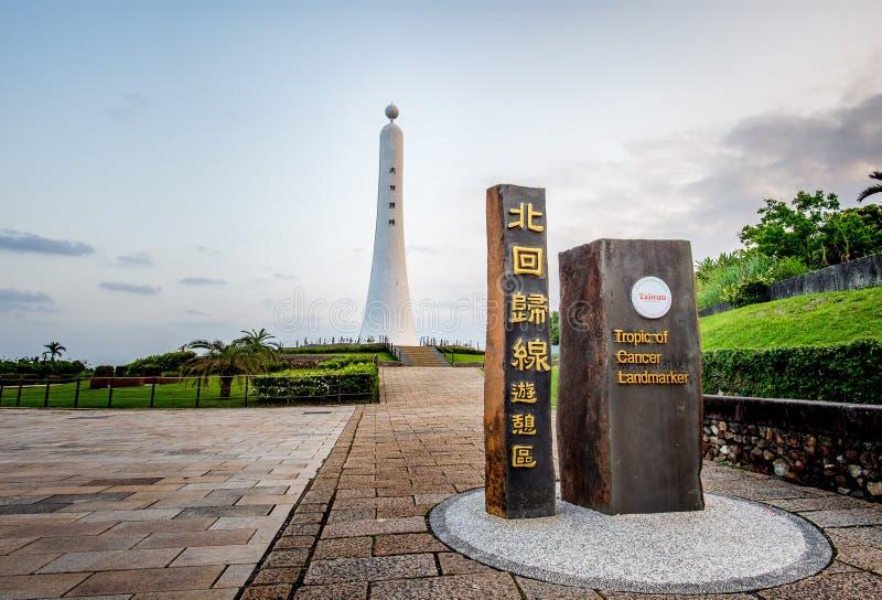 北回归线在花莲,台湾的标志 汉字意味`北回归线` 库存照片