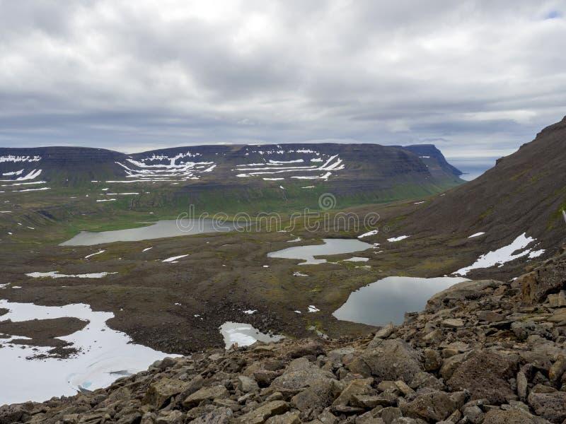北夏天风景、美丽的积雪的峭壁和flj 免版税库存照片