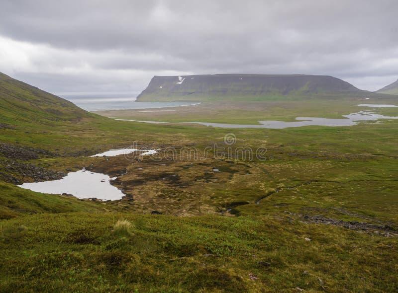 北夏天风景,在美丽的峭壁的看法在adalvik c 免版税库存图片