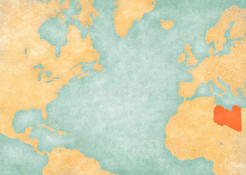 北大西洋-利比亚的地图 向量例证