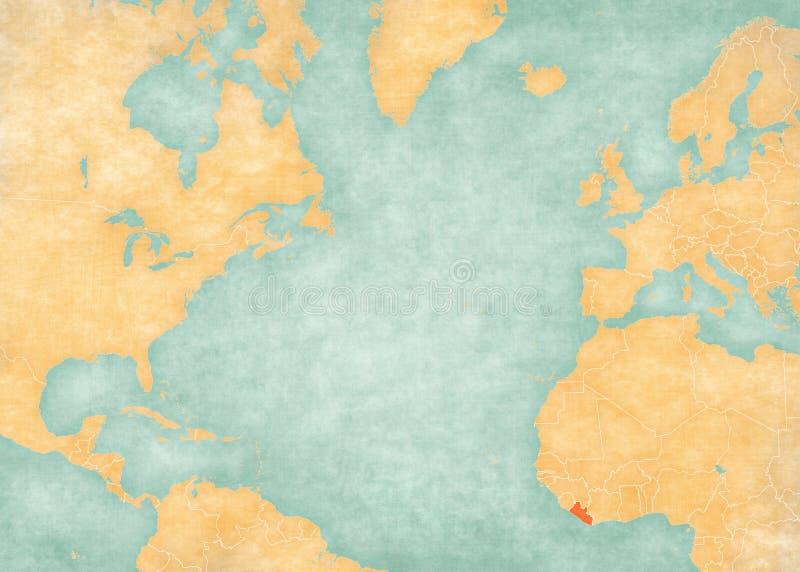 北大西洋-利比里亚的地图 向量例证