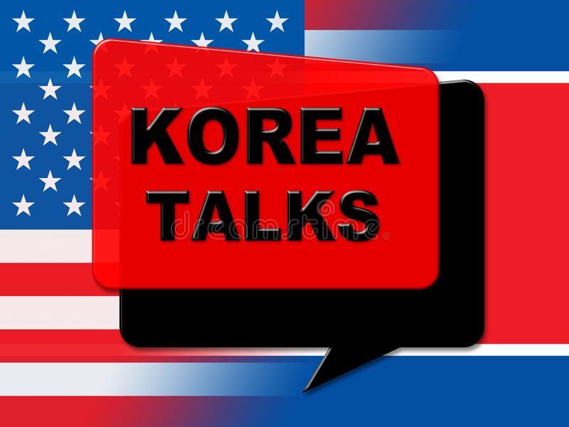 北朝鲜与美国3d例证的和平谈判 皇族释放例证