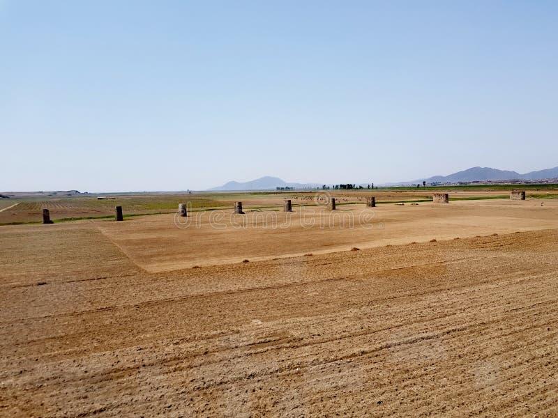 北朝鲜从火车的乡下风景 免版税库存照片