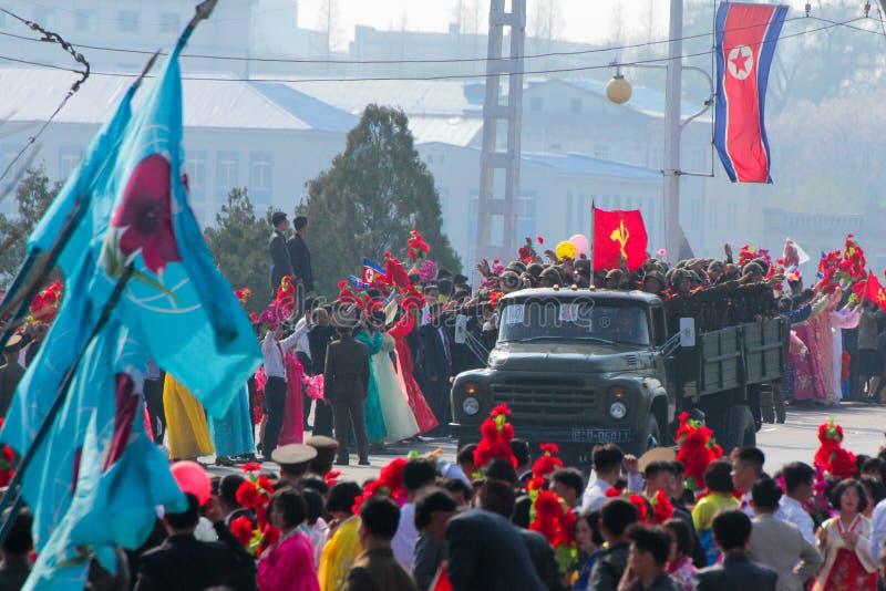 北朝鲜军事游行 免版税库存照片