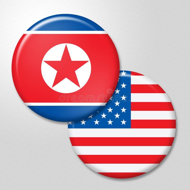 北朝鲜和团结的冲突旗子3d例证 库存例证