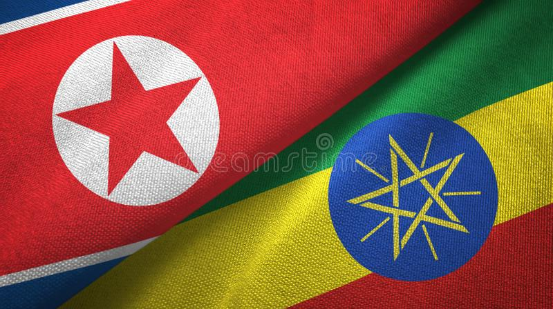 北朝鲜和埃塞俄比亚两旗子纺织品布料,织品纹理 向量例证