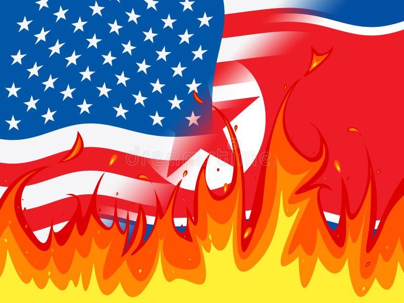 北朝鲜和美国危机冲突3d例证 皇族释放例证