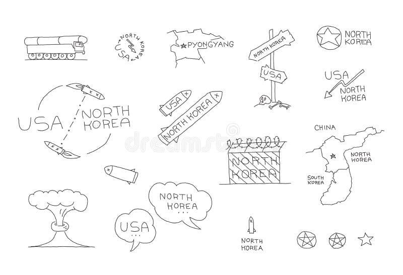 北朝鲜和美国国际关系冲突集合 关于核武器导弹的对话 拉长的现有量向量 库存例证